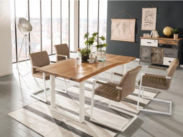 Esstisch Bullwer mit 4 Stühlen Picton Metall weiß