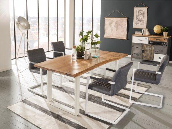 Esstisch Bullwer mit 4 Stühlen Picton grau Metall weiß