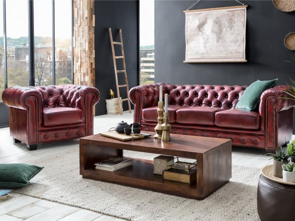 Chesterfield Sofa Garnitur antik rot