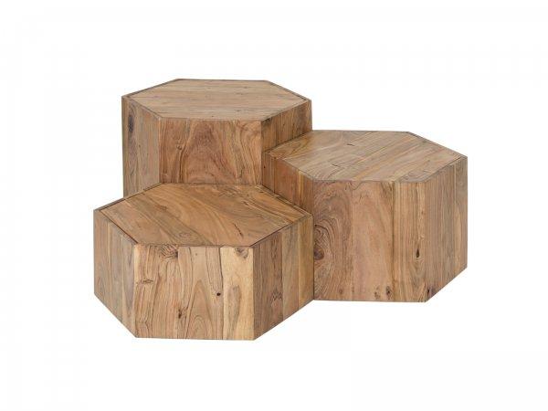 Couchtisch 3er Set Auckland Sechseckig Woodkings Shop