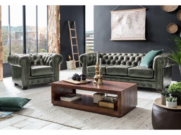Chesterfield Sofa Garnitur antik grün