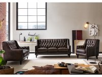Chesterfield Sofa Garnitur Stafford antik braun