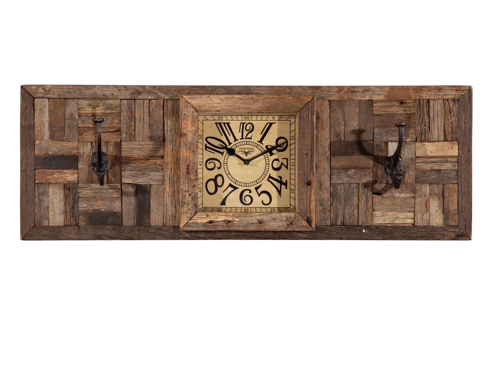 Wandpaneel mit Haken und Uhr