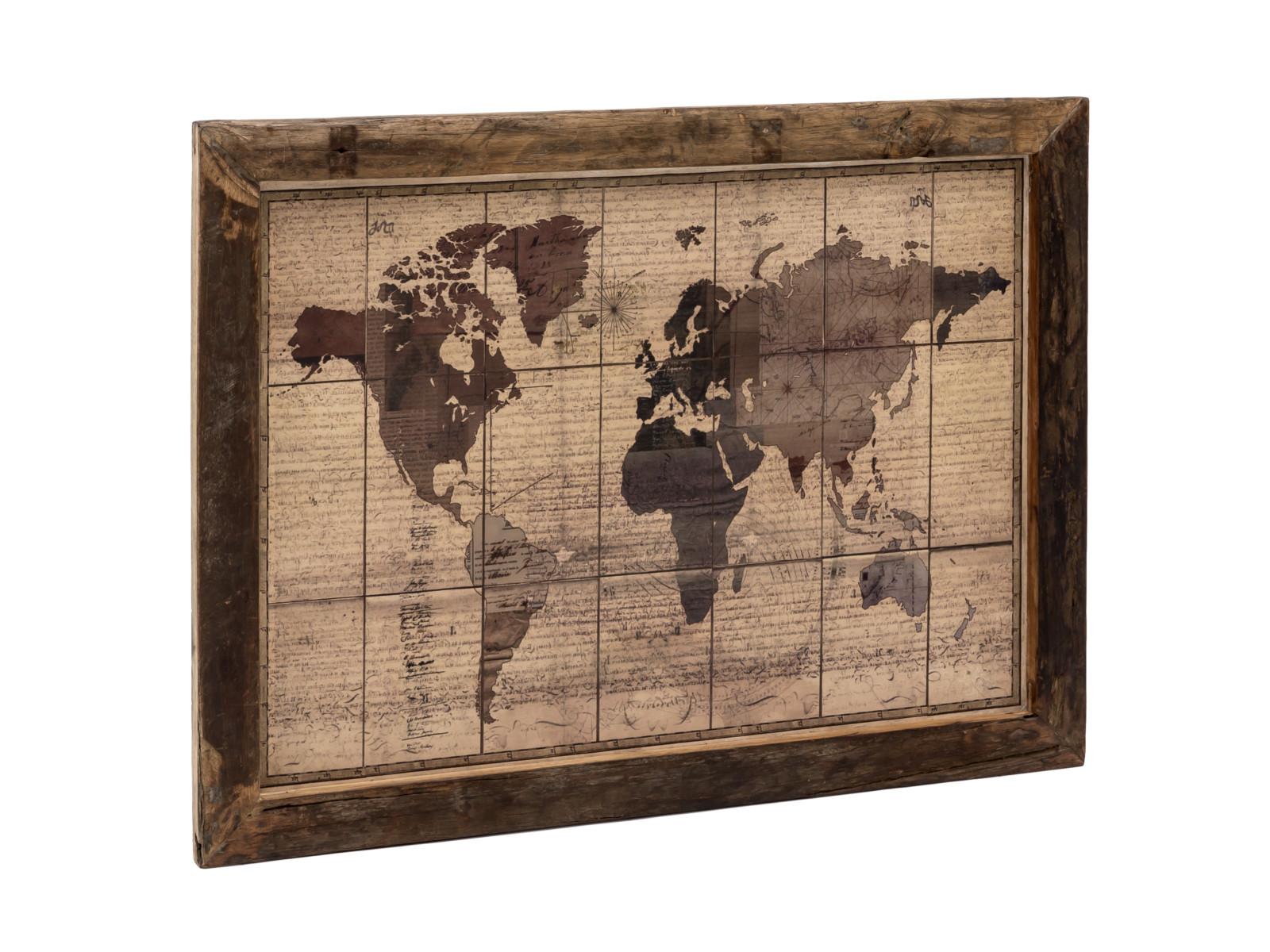 Wandbild World Map 120x90