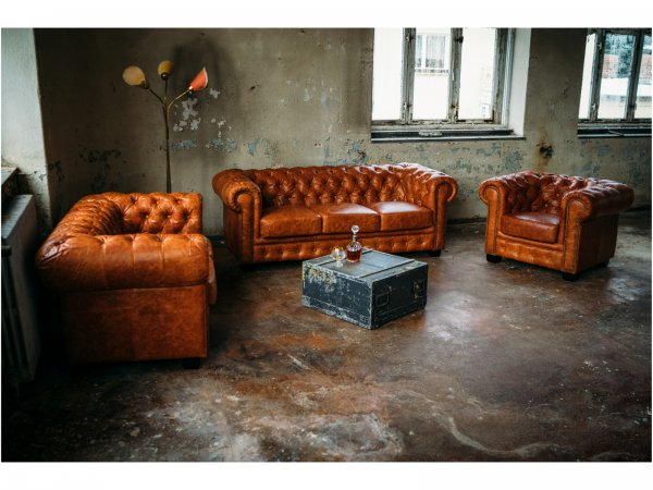 Chesterfield Sofa Garnitur cracker Braun